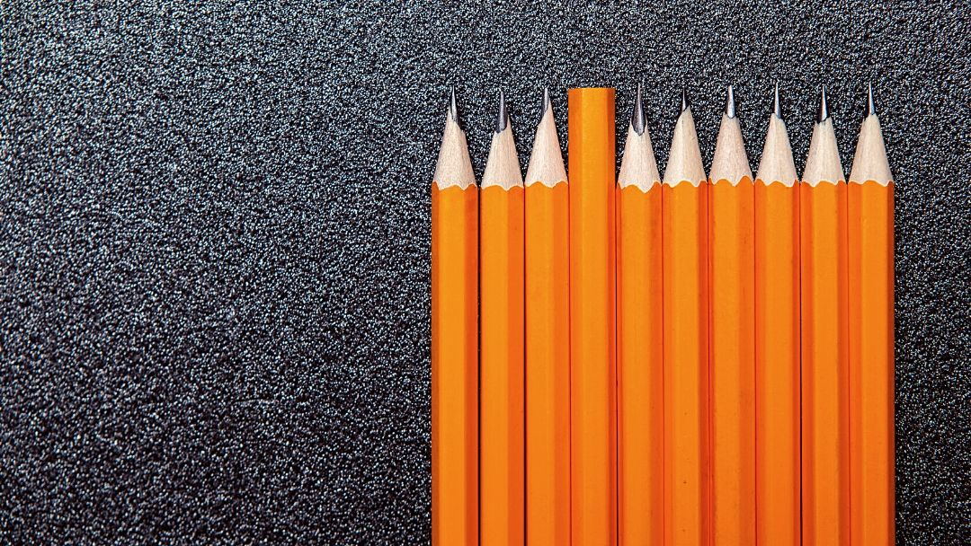 compare yourself to others yellow pencils in a row