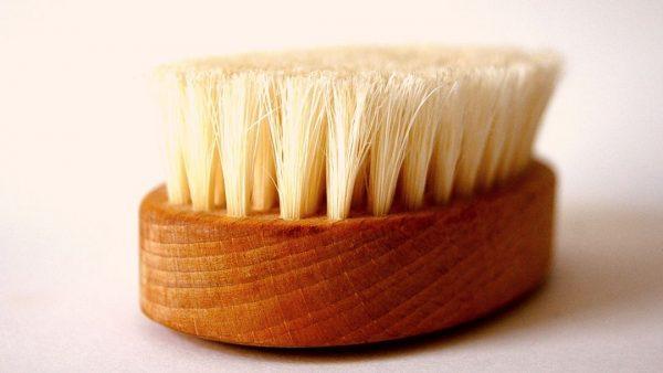 Dry body brush on white background