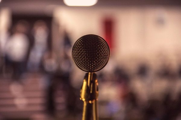 close up in front of microphone