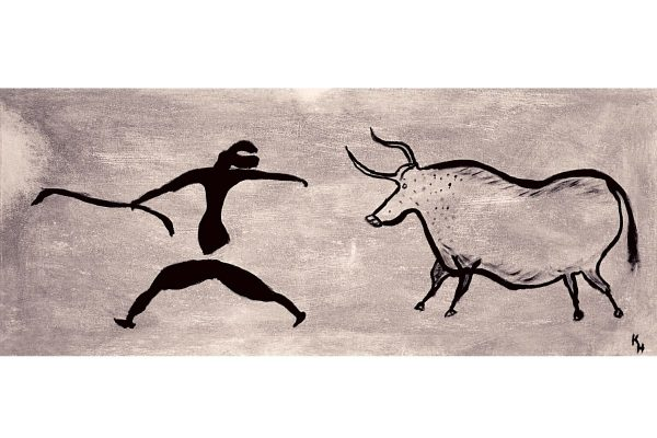 Lascaux Cave painting of man running away from Auroch